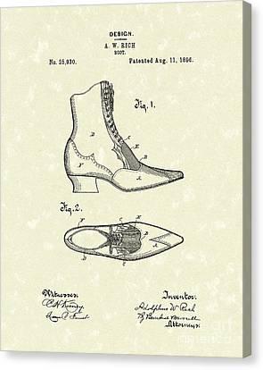 Boot Design 1896 Patent Art Canvas Print