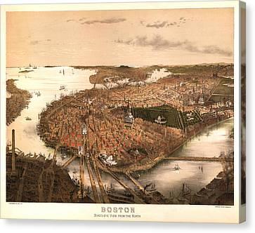 Boston Massachusetts 1877 Canvas Print by Donna Leach