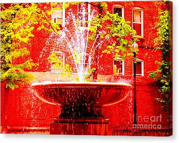 Boston Red Canvas Print by Ann Johndro-Collins