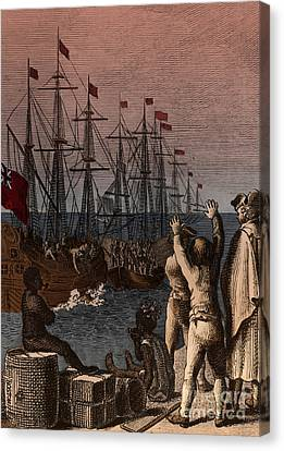 Boston Tea Party, 1773 Canvas Print by Photo Researchers
