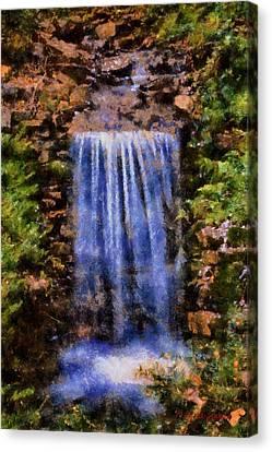 Canvas Print featuring the digital art Botanical Garden Falls by Lynne Jenkins