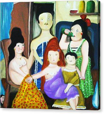 Botero Style Family Canvas Print by Vickie Meza
