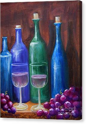 Bottles And Grapes Canvas Print by Pauline Ross