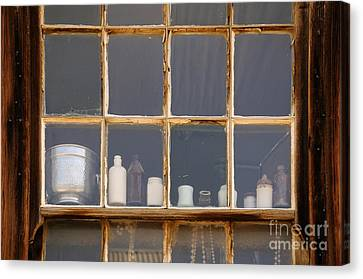 Bottles In The Window Canvas Print by Vivian Christopher