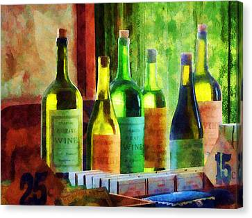 Chefs Canvas Print - Bottles Of Wine Near Window by Susan Savad