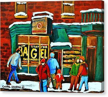 Boulangerie St.viateur Scene De Rue De Montreal En Hiver Canvas Print by Carole Spandau