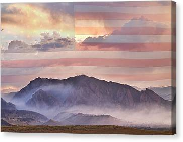 Boulder Colorado Flatirons And The Flagstaff Fire Usa Canvas Print by James BO  Insogna
