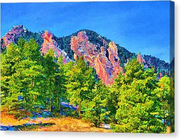 Canvas Print featuring the digital art Boulder Flatirons by Brian Davis