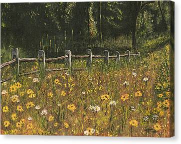 boundary fence Swan Lake NY Canvas Print by Stuart B Yaeger