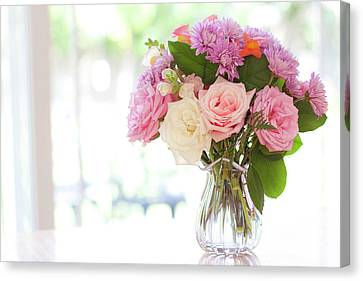 Bouquet Of Flowers On Table Near Window Canvas Print by Jessica Holden Photography