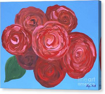 Canvas Print featuring the painting Bouquet Of Roses by Alys Caviness-Gober