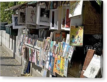 Bouquiniste Book Seller At Quays Of Seine Paris Canvas Print by Bernard Jaubert