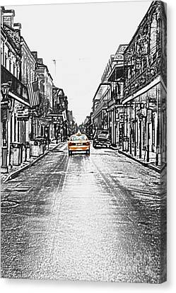 Bourbon St Taxi French Quarter New Orleans Color Splash Black And White Colored Pencil Digital Art Canvas Print by Shawn O'Brien