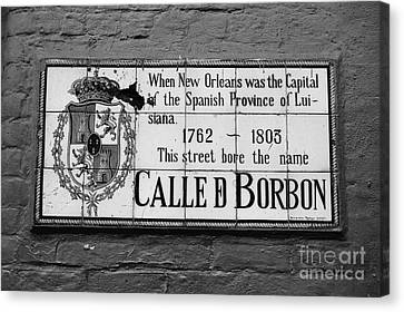 Bourbon Street Historic Plaque French Quarter New Orleans Black And White Canvas Print by Shawn O'Brien