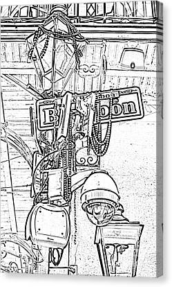 Bourbon Street Sign And Lamp Covered In Beads Black And White Photocopy Digital Art Canvas Print by Shawn O'Brien