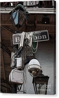 Bourbon Street Sign And Lamp Covered In Beads Poster Edges Digital Art Canvas Print