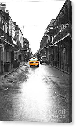 Bourbon Street Taxi French Quarter New Orleans Color Splash Black And White Film Grain Digital Art Canvas Print by Shawn O'Brien