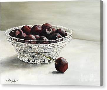 Bowl Full Of Cherries Canvas Print by Charlotte Yealey