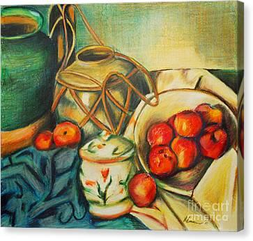 Bowl Of Peaches Canvas Print by Joe McGinnis