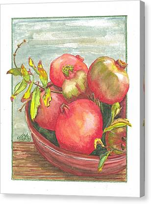 Canvas Print featuring the painting Bowl Of Pomegranates by Terry Taylor