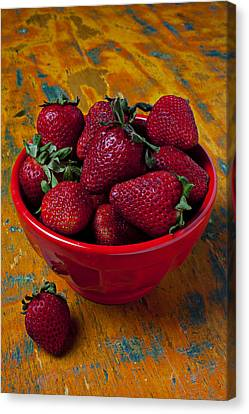 Bowl Of Strawberries  Canvas Print by Garry Gay