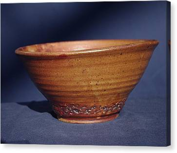 Canvas Print featuring the ceramic art Bowl With Texture by Rick Ahlvers