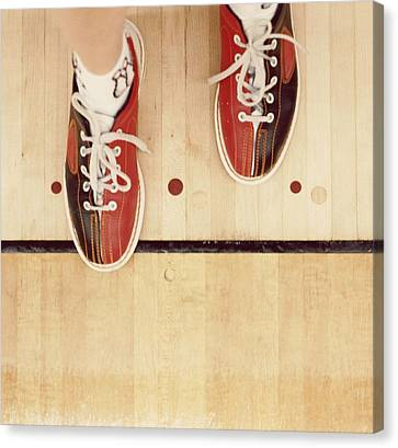 Punishment Canvas Print - Bowler With Bowling Shoes Stepping Over Foul Line by Sylvia Serrado