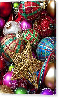 Box Of Christmas Ornaments With Star Canvas Print by Garry Gay