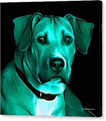 Boxer Pitbull Mix Pop Art - Cyan Canvas Print by James Ahn