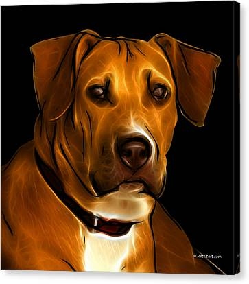 Boxer Pitbull Mix Pop Art - Orange Canvas Print by James Ahn