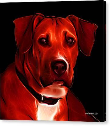 Boxer Pitbull Mix Pop Art - Red Canvas Print by James Ahn