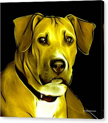 Boxer Pitbull Mix Pop Art - Yellow Canvas Print by James Ahn