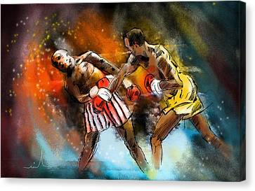Boxing 01 Canvas Print by Miki De Goodaboom