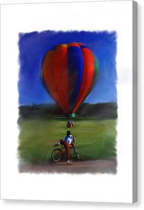 Canvas Print featuring the digital art Boy  And Balloon by Mary M Collins