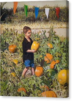 Boy At Pumpkin Festival Canvas Print by Joanna Franke