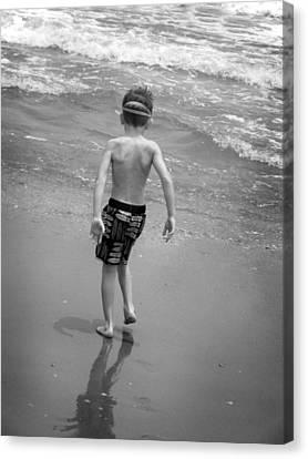 Boy At The Ocean Canvas Print by Kelly Hazel