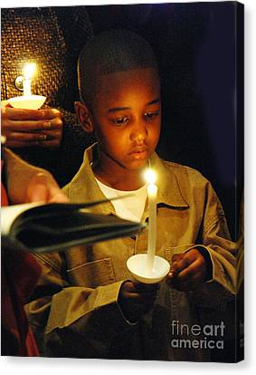 Boy By Candlelight Canvas Print by Jim Wright