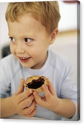 Boy Eating A Jam Tart Canvas Print by Ian Boddy