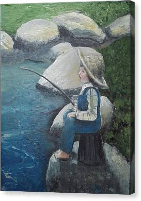 Canvas Print featuring the painting Boy Fishing by Angela Stout