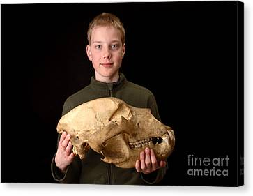 Boy Holding Kodiak Bear Skull Canvas Print