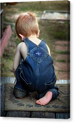 Boy In Overalls Canvas Print by Kelly Hazel