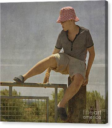 Boy On A Fence Waiting For Lance Armstrong Canvas Print by Paul Grand