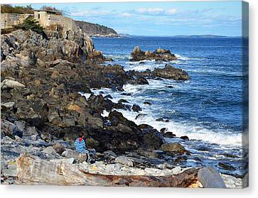 Canvas Print featuring the photograph Boy On Shore Rocky Coast Of Maine by Maureen E Ritter
