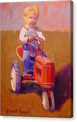 Boy On Tractor Canvas Print by The Vintage Painter