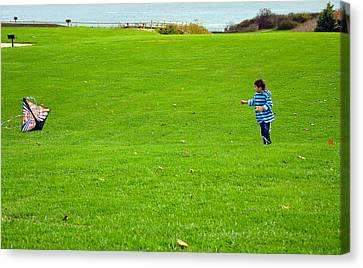 Canvas Print featuring the photograph Boy With His Kite Maine by Maureen E Ritter