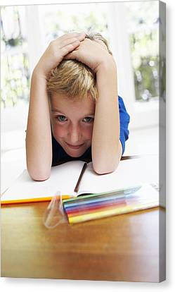 Boy With Pens And Exercise Book Canvas Print by Ian Boddy