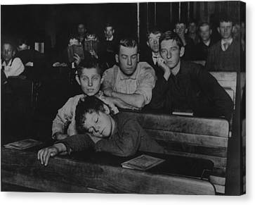 Boys And Teenagers Attend Night School Canvas Print by Everett
