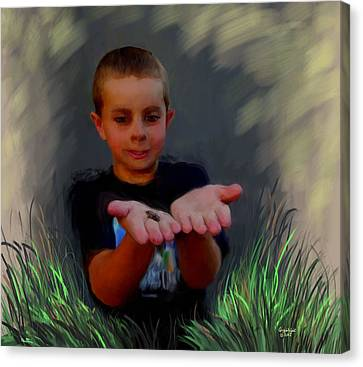Boys And Their Pet Frogs Canvas Print by Cindy Wright