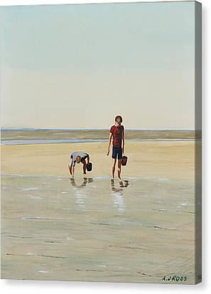 Boys Clamming Canvas Print