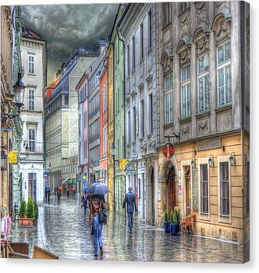 Bratislava Rainy Day In Old Town Canvas Print by Juli Scalzi